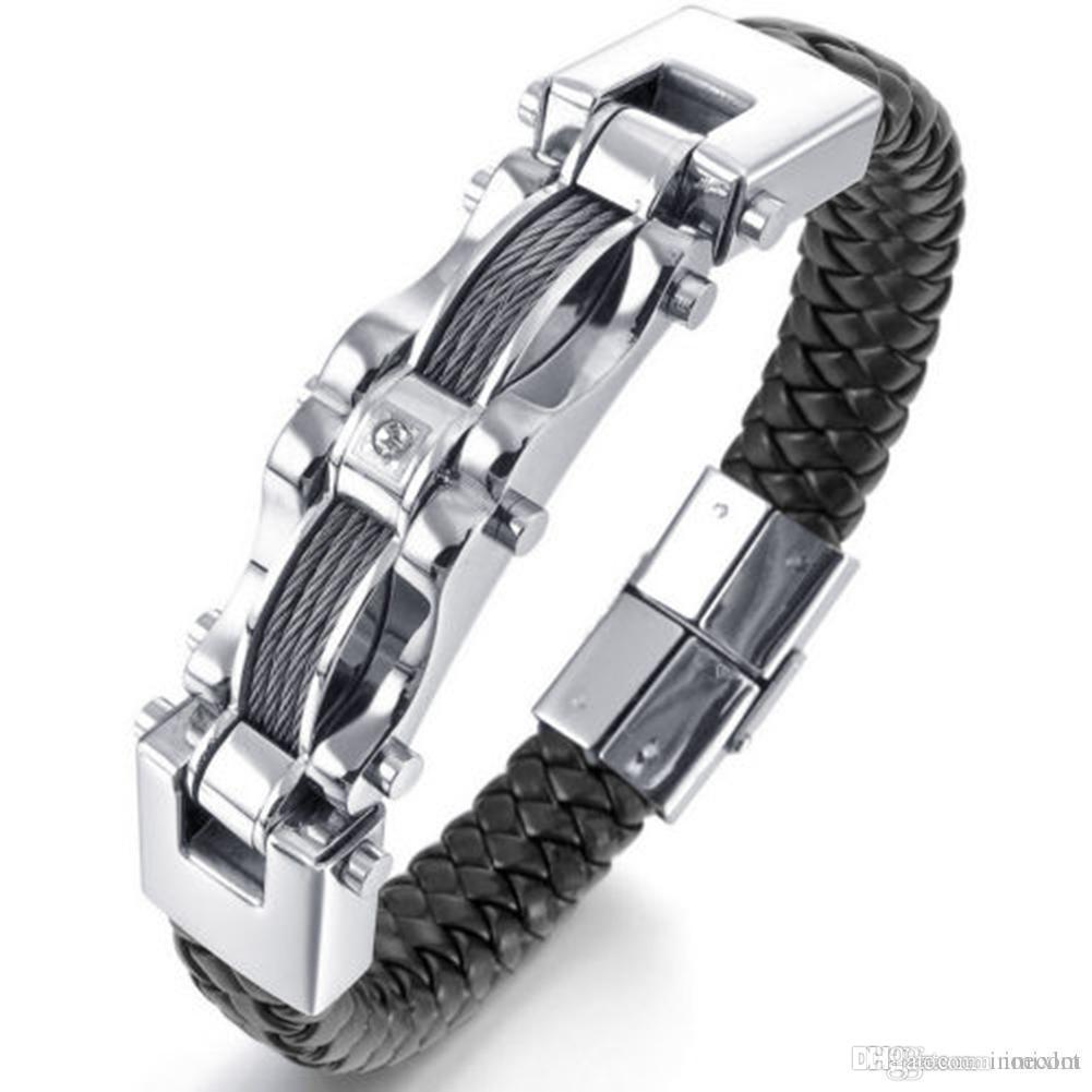 11d1bb0437a7 Nueva moda para hombre trenzado de cuero negro pulsera de acero inoxidable  pesado Biker alambre brazalete pulseras brazaletes JBN0050