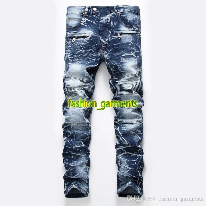 2019 Fashion Men's Jeans Mens Nostalgic Washed Motorcycle Jeans Straight Tide Mens Personality Trousers Men's Designer Jeans