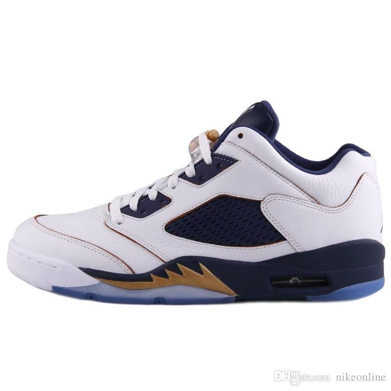 b47dc95e323ca Cheap Mens Jumpman 5 V Low Basketball Shoes 5s Olympic Gold Navy ...