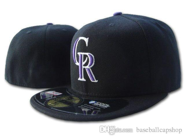 e13dd9dcada Top Quality Rockies Fitted Hats in Baseball Embroidered Team CR ...