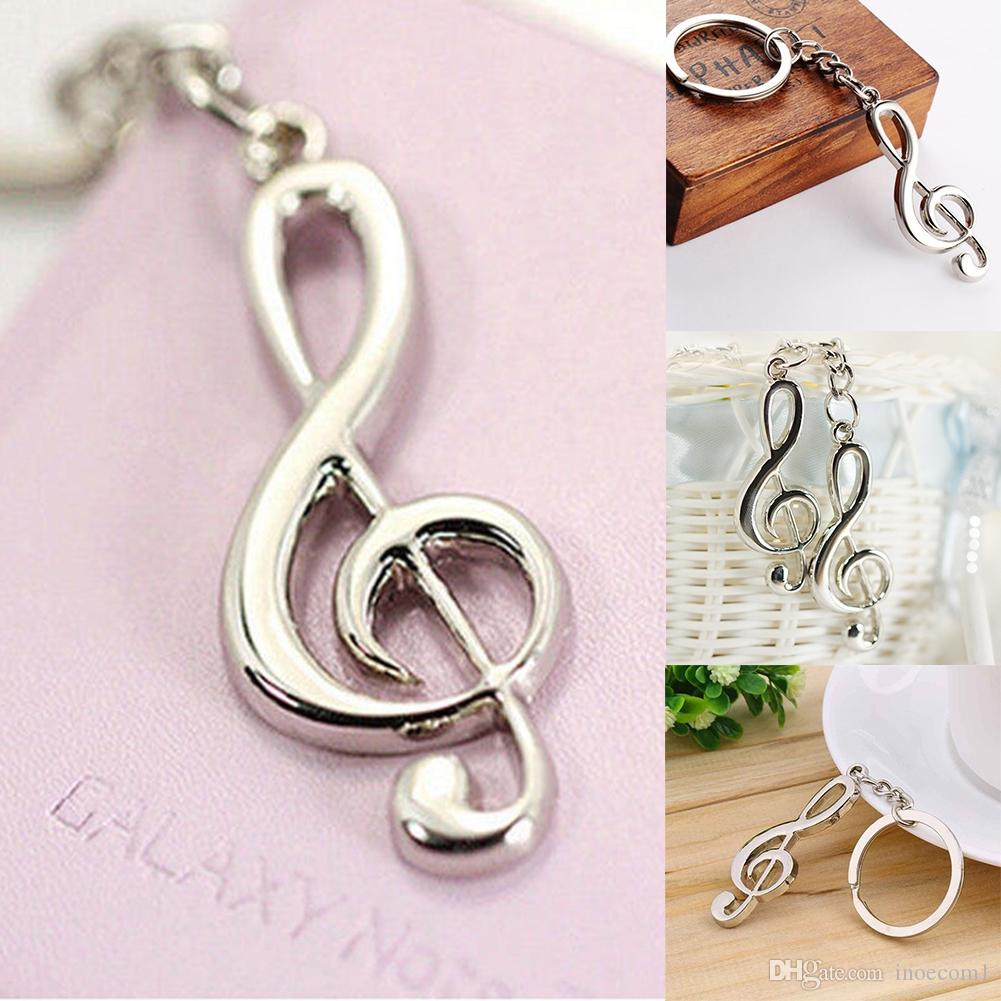 Handbag Keychain Key Chain Holders Favor Keyring Silver plated Musical Note Keychain For Car Metal Music Symbol Key Chains