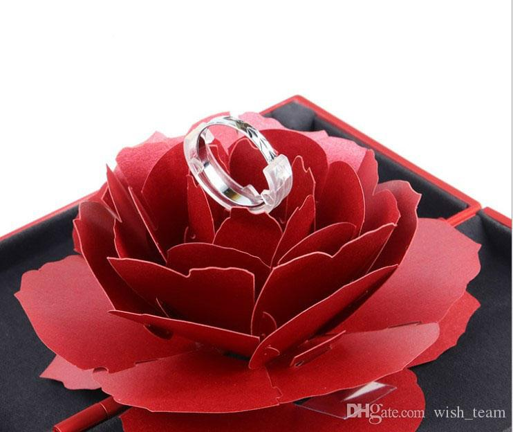 Foldable Rose Ring Box For Women 2019 Creative Jewel Storage Paper Case Small Gift Box For Rings