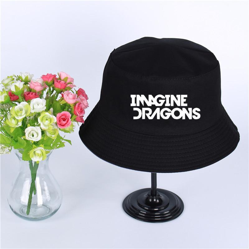 13ddcab95 Imagine Dragons Logo Summer Hat Women Mens Panama Bucket Hat Imagine  Dragons Design Flat Sun Visor Fishing Fisherman Hat