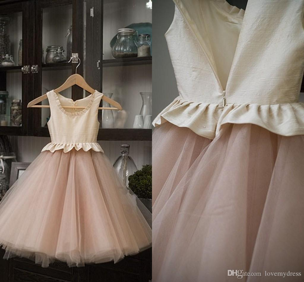 3278b781cc86 2019 Cheap Cute Flower Girl Dresses Scoop Ruffle Ruched First Holy ...