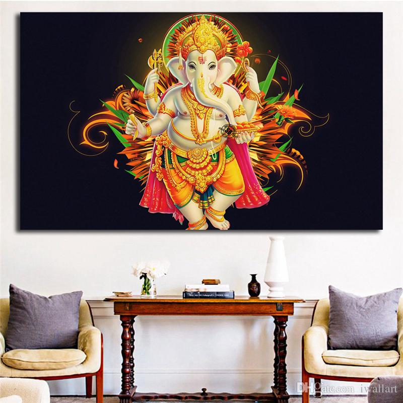 Lord Ganesha Portrait Canvas Painting Living Room Home Decor Modern Wall Art Painting Poster Picture Accessories