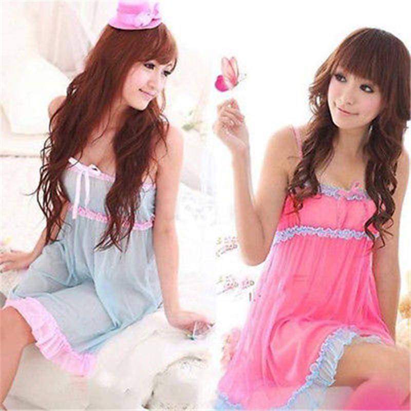 Hirigin beauté 2 couleurs sexy de lingeries Bow Robe épissé dos nu robe de nuit G-string Nouveaux