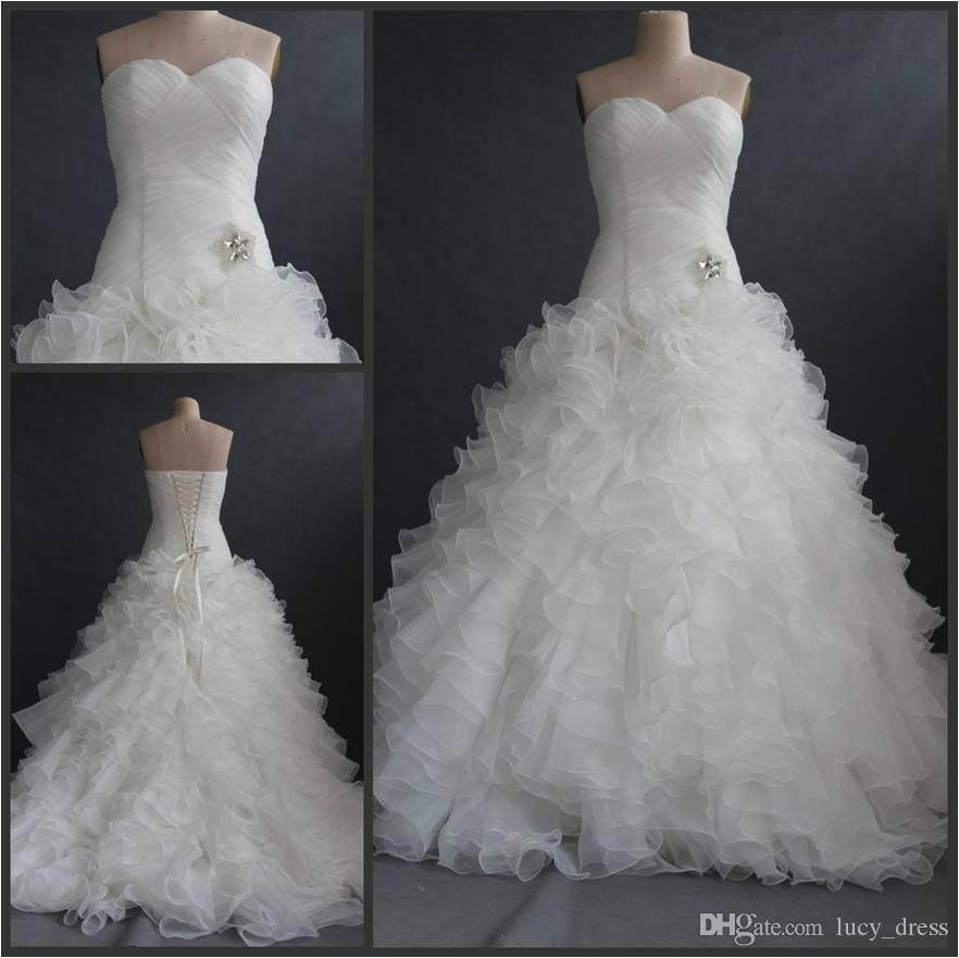 Sweetheart Sweep Train Tiered Skirts Cascading With Ruffle Organza Mermaid Wedding Dresses