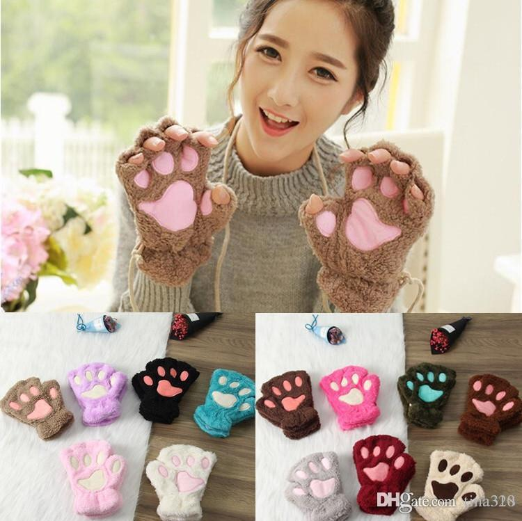 Fluffy Bear Paw Glove Cat Plush gloves Paw Claw Glove-Novelty Halloween soft toweling lady's half covered gloves mittens IB414