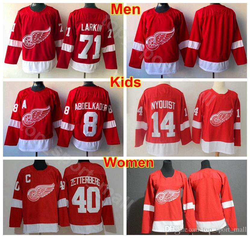hot sale online 21970 d6aee Men Youth Women Detroit Red Wings Jerseys Ice Hockey Man Kids 71 Dylan  Larkin 14 Gustav Nyquist 40 Henrik Zetterberg 8 Justin Abdelkader