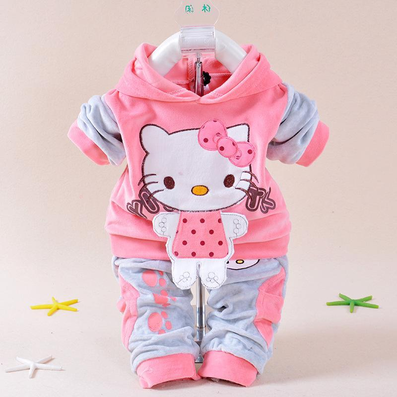 28c8e4666 2019 Retail Baby Girl Hello Kitty Clothing Sets Kids Velvet Suits ...