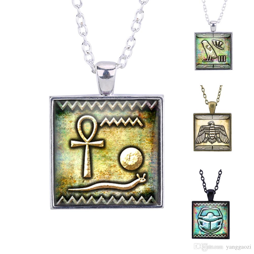 New fashion creative pendant necklace New foreign trade jewelry Europe and America retro square time gemstone necklace Egyptian cuneiform
