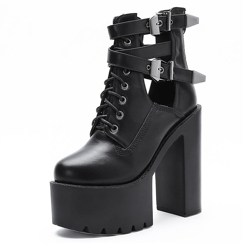 Gothic Spring Autumn Buckle Cross Strap Block Fashion High Heels Platform Women Boots Punk Rock Motorcycle Ladies Goth Shoes