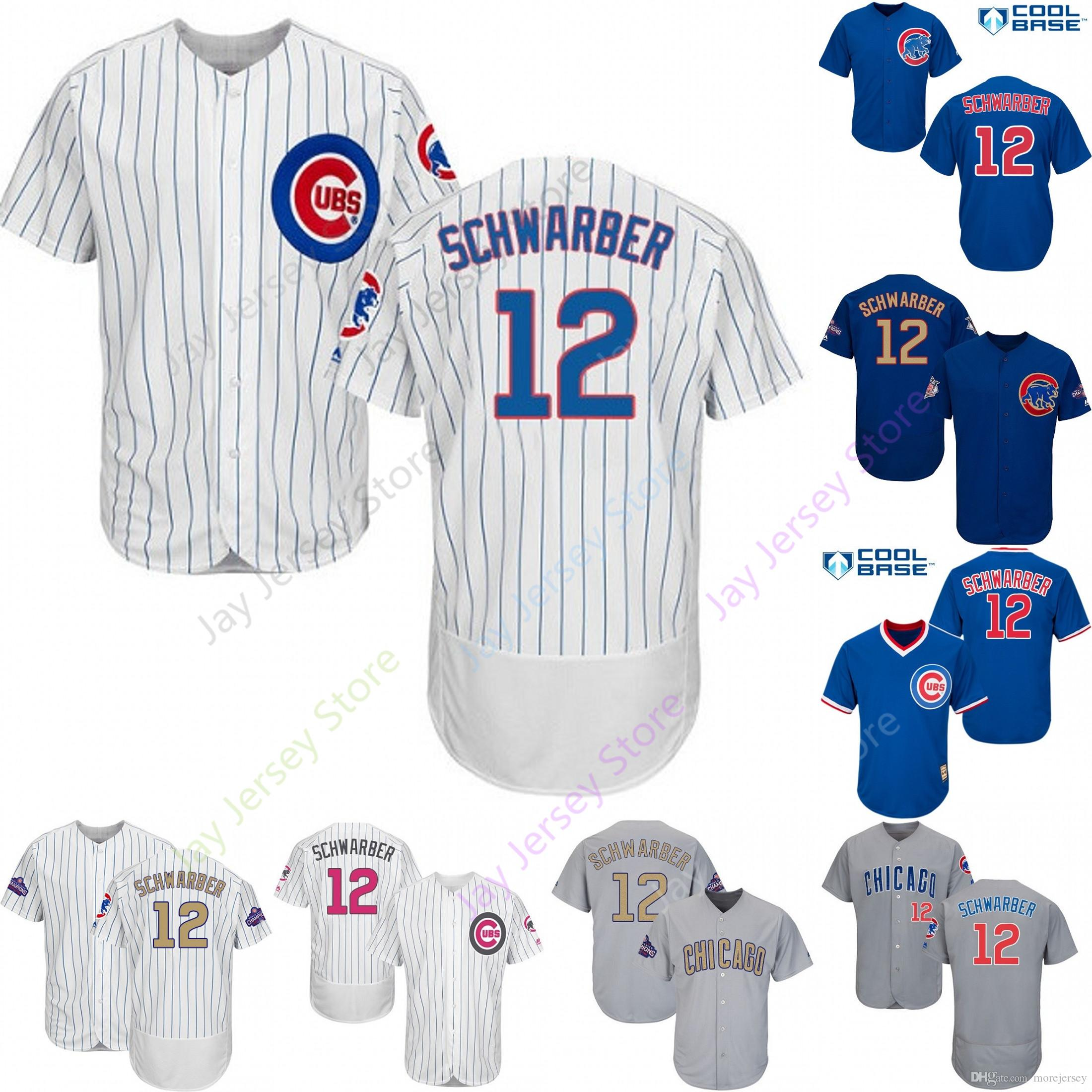detailed look 54f71 835cf 2019 Chicago 12 Kyle Schwarber Jersey Cubs Jerseys Cool Base Flexbase Home  Away White Black Red Grey Pullover Button Men Women Youth