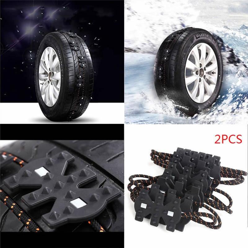 2PCS Winter Non-slip Universal Black Wearproof Wheel Tire Anti-skid Emergency Chain for Car Truck SUV MPV Auto Car Accessories