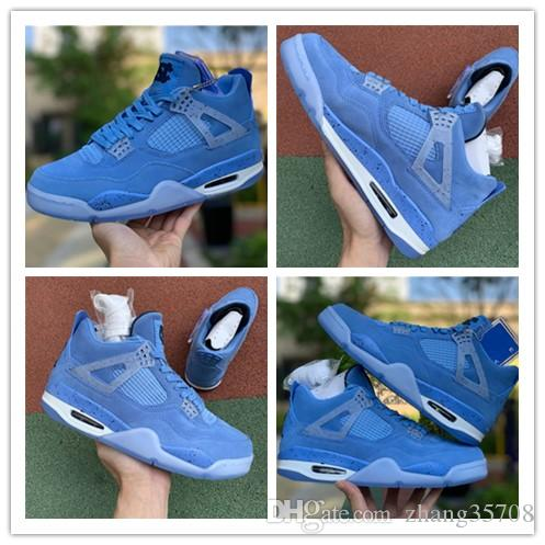 2019 Top 4 Ret UNC PE 4S IV Männer Basketball Schuhe Authentic Sports Sneakers Blau Wildleder Transparente Sohle Mit Original Box Limited A5