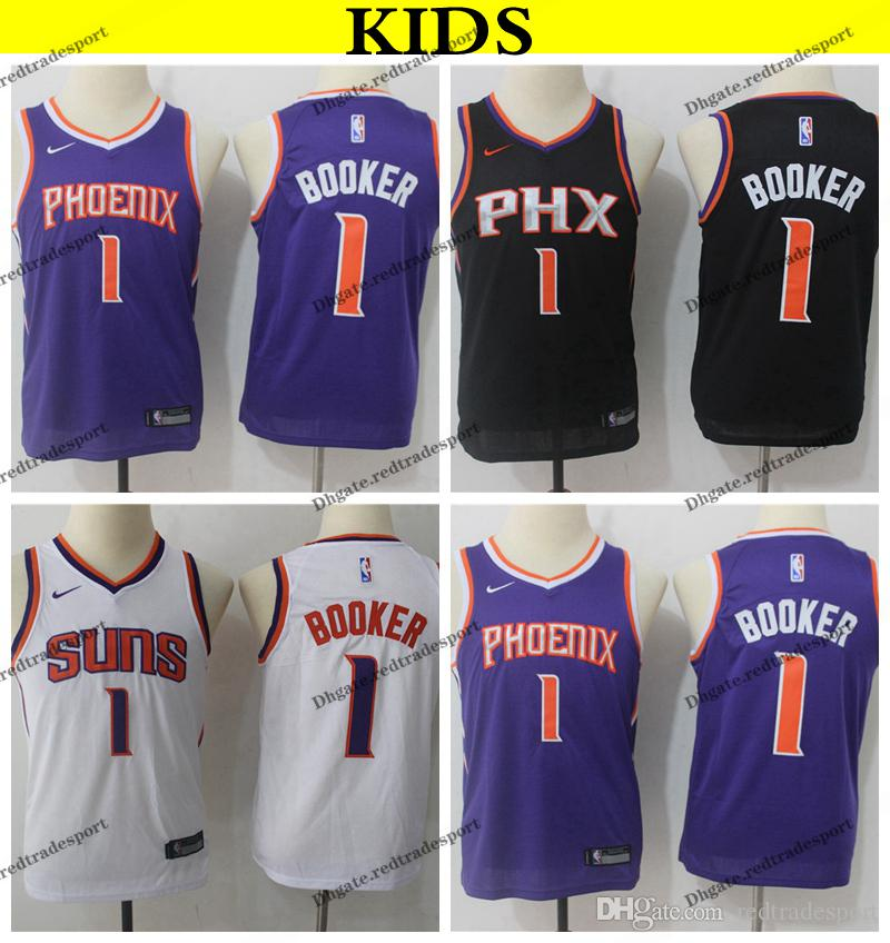 buy popular 72f72 fdc2f 2019 Kids Phoenix #1 Suns Devin Booker Basketball Jerseys Youth Devin  Booker New Black Purple White Stitched Shirts S-XL
