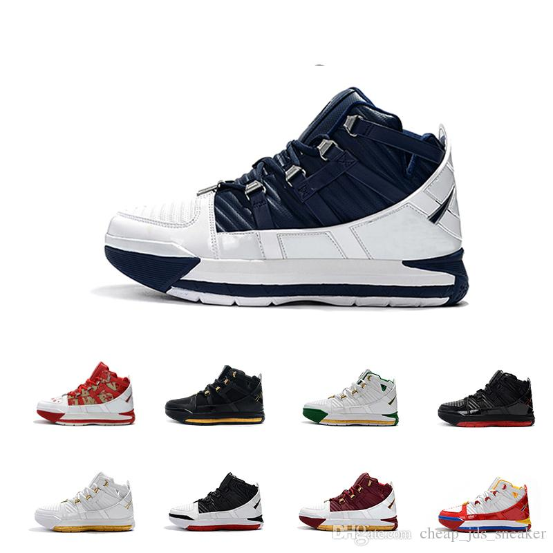 wholesale dealer dd27d 01022 Lebron Zoom III 3 Arrival #23 Home SuperBron Mens casual Shoes High quality  White Blue Red Black James 3s casual shoes US 7-12