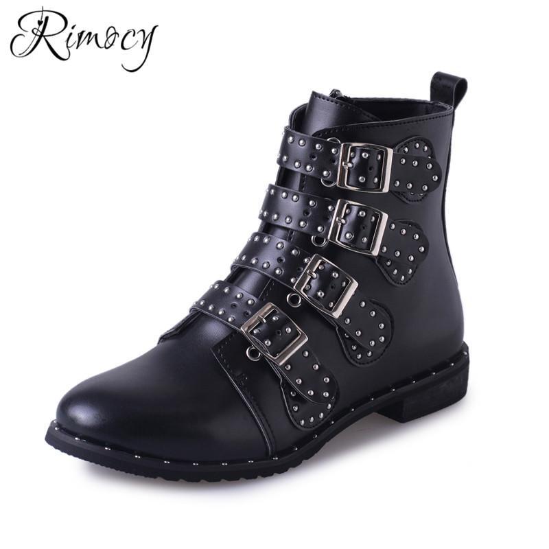 281f194ba Compre RIMOCY Hebilla Botas Remache Zapatos Negro Mujer Botines De Gran  Tamaño Para Mujeres Martin Damas PU Impermeable Bota De Motocicleta A   38.56 Del ...