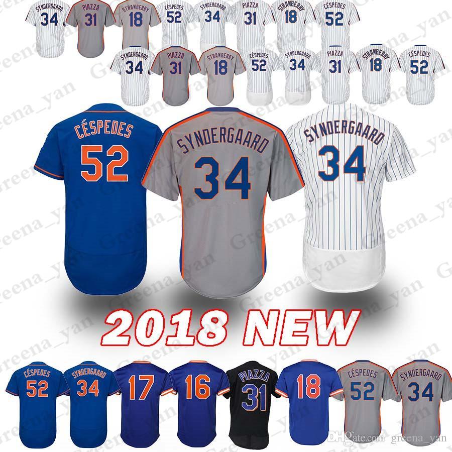 c916423a4bd 2019 New York Mets Baseball Jersey 52 Yoenis Cespedes 34 Noah Flex Base  Retro 18 Darryl Strawberry 17 Keith Hernandez 16 Dwight Gooden Jerseys From  ...