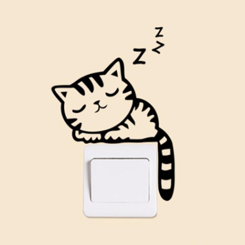 DIY 재미 귀여운 고양이 개 스위치 스티커 벽 스티커 홈 장식 침실 응접실 장식 뜨거운