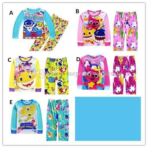 8f2bcfa97574 Kids Boys Clothes Set Long Shirts + Pants Cute Cartoon Baby Shark ...