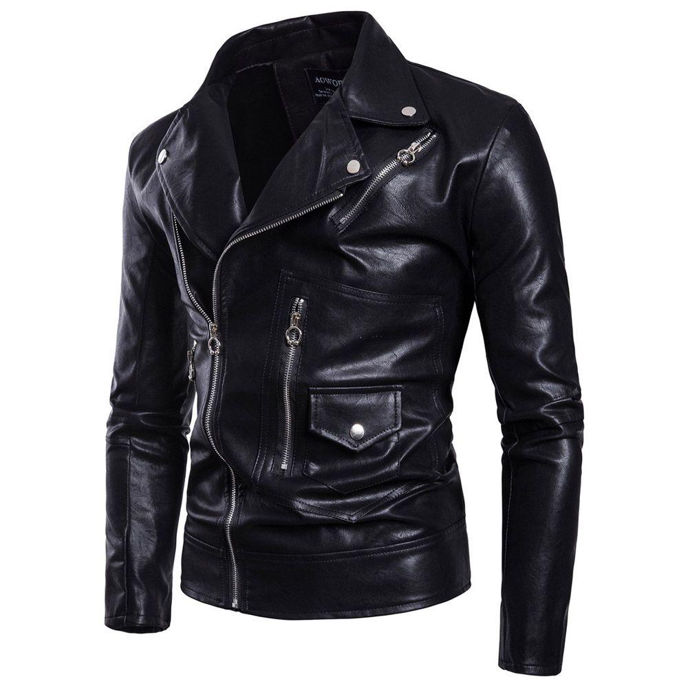 Gotik Artı boyutu Sahte deri ceket Uzun Kollu Casual Cothes Siyah PU Ceket Yaka İnce Gömlek Standı