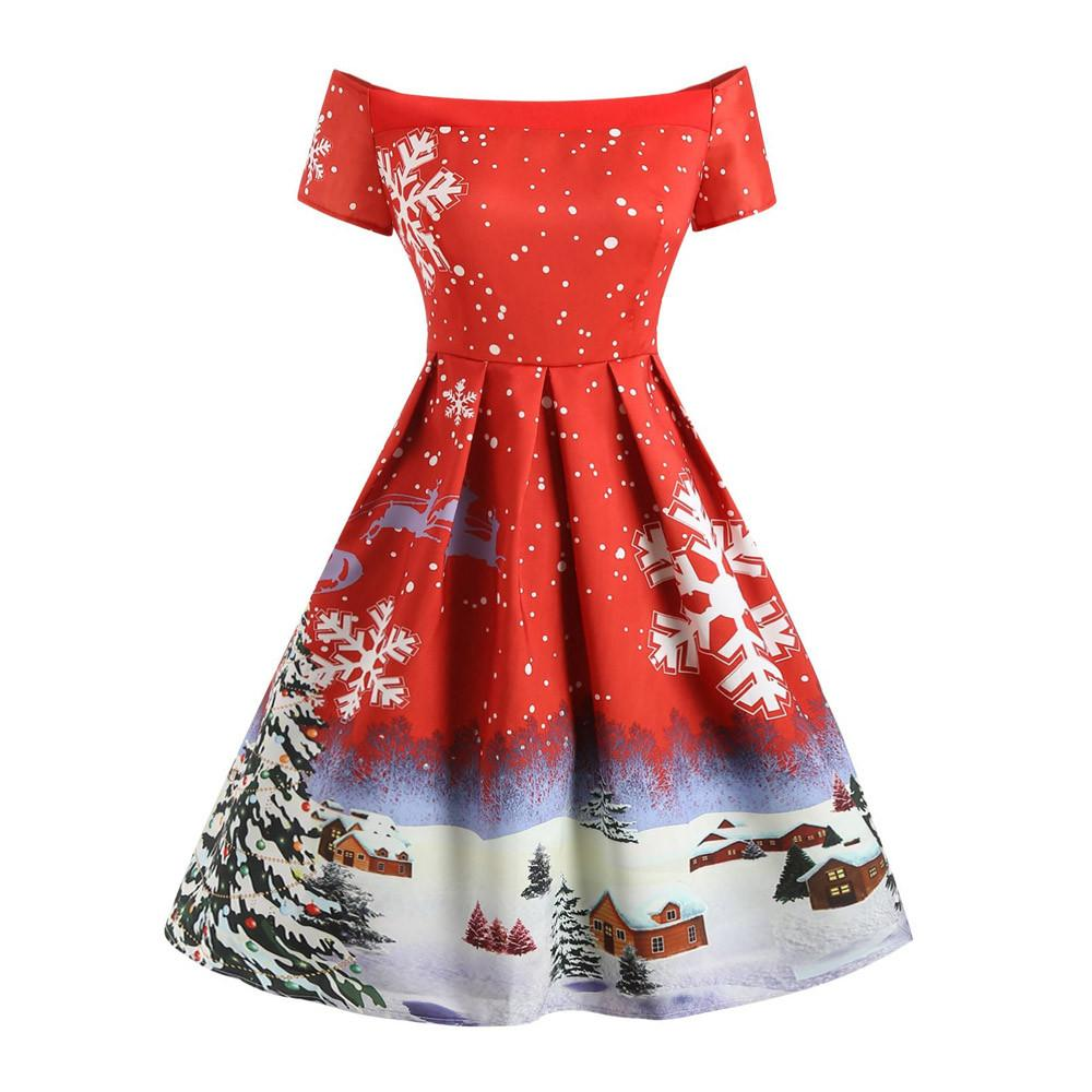 6c5e370dffcfd Acquista Abiti Natalizi Invernali Donna 50S 60S Vintage Robe Swing Pinup  Elegante Abito Da Festa Manica Corta Casual Taglie Forti Stampa Nero 30 A   36.82 ...