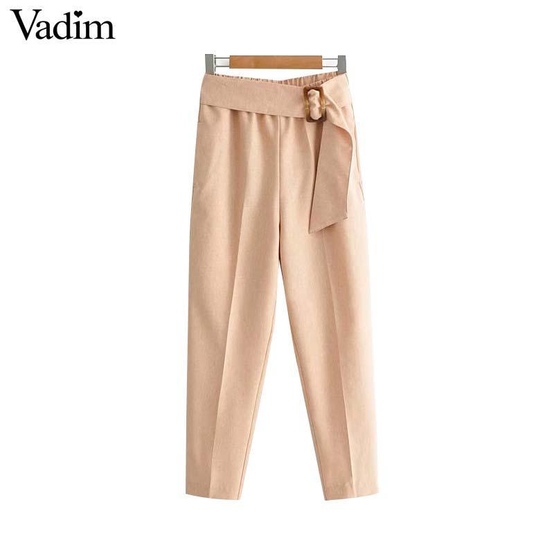 dernier style style moderne matériaux de qualité supérieure Vadim femme élégante noeud papillon sarouel poches poches décontractée  femme taille estique chic longueur pantalon pantalones KA807