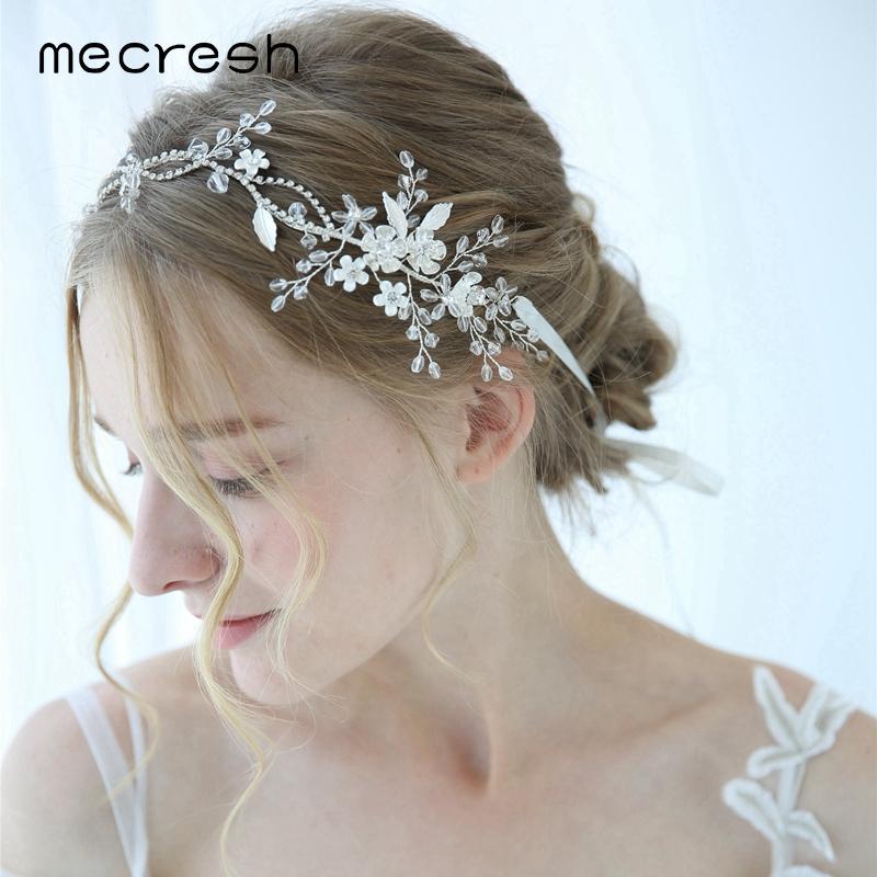 35b2d78371b Mecresh Silver Color Flower Bridal Headbands Women Wedding ...