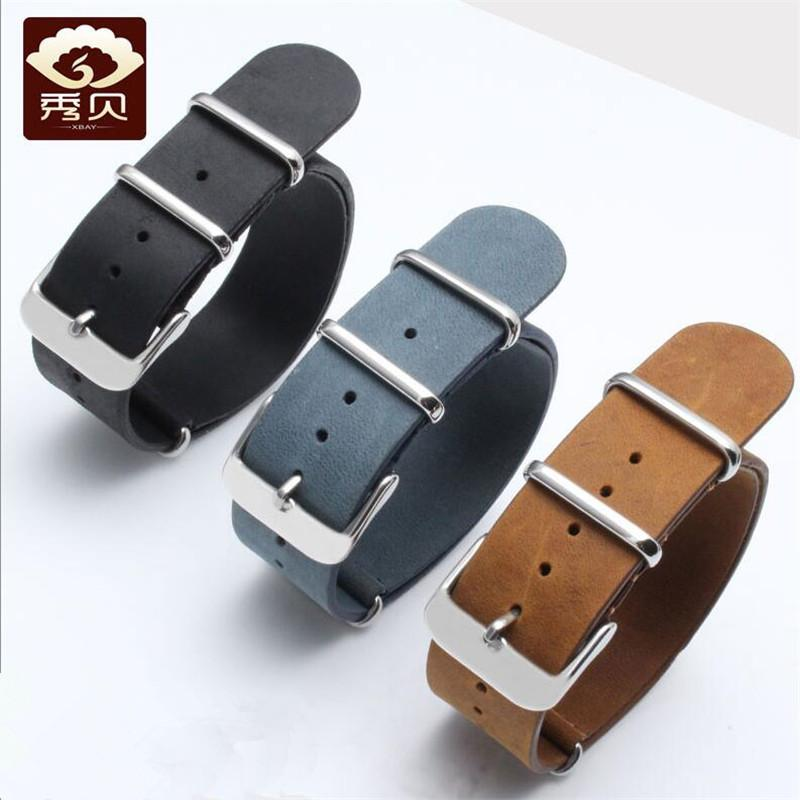 25a67615a91 Durable Genuine Leather Watchband Blue Brown Black Long Calfskin ...