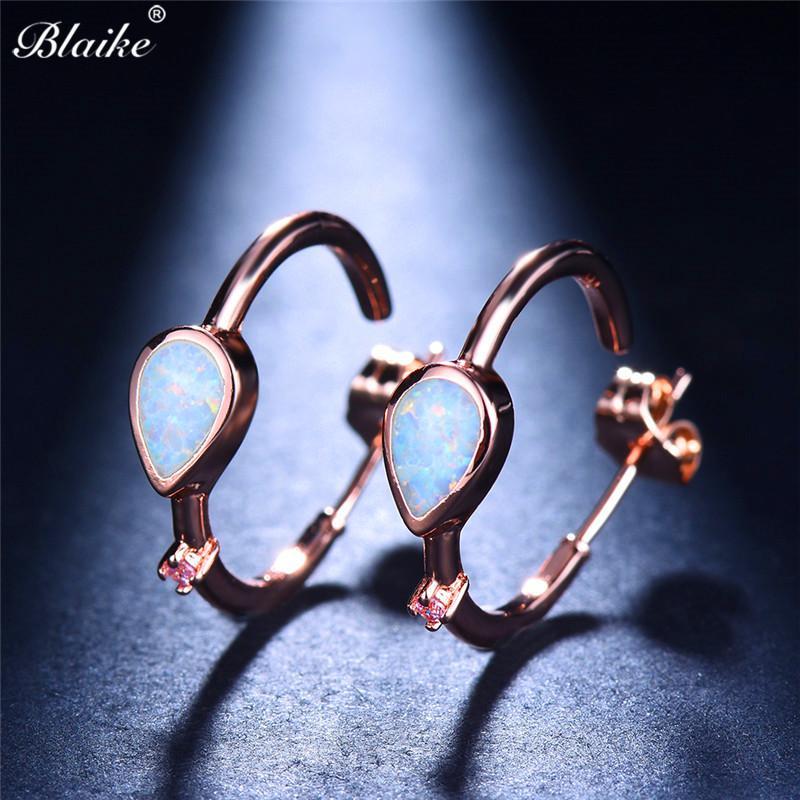 Blaike Korean White Fire Opal Hoop Earrings For Women Retro Rose ... 339db73b757f