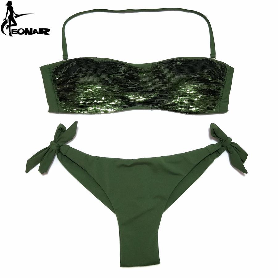Bikini Conjunto Cosidas Corte 2019 Traje Cintura Lentejuelas Baño Trajes Baja Mujer De Fondo Eonar Brasileño POikZuXT
