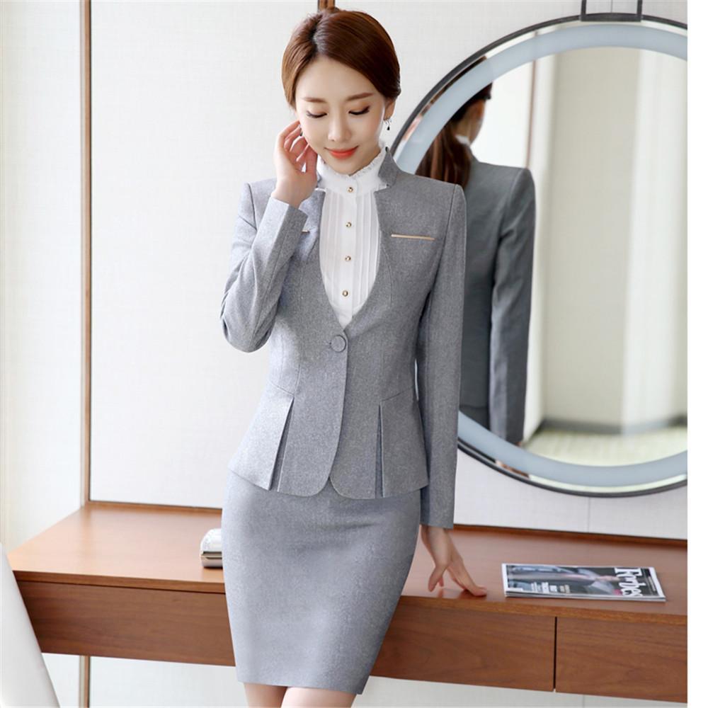 ca5a941e2fd63 Womens formal suits Workwear office uniform designs women office suits  blazers feminino spa uniform elegant business pant
