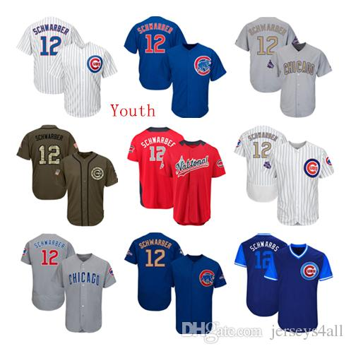 reputable site 1c608 c99bd Youth Kids Child Chicago Cubs Baseball Jerseys 12 Kyle Schwarber Jersey  White Blue Gray Grey Green Salute Players Weekend All Star