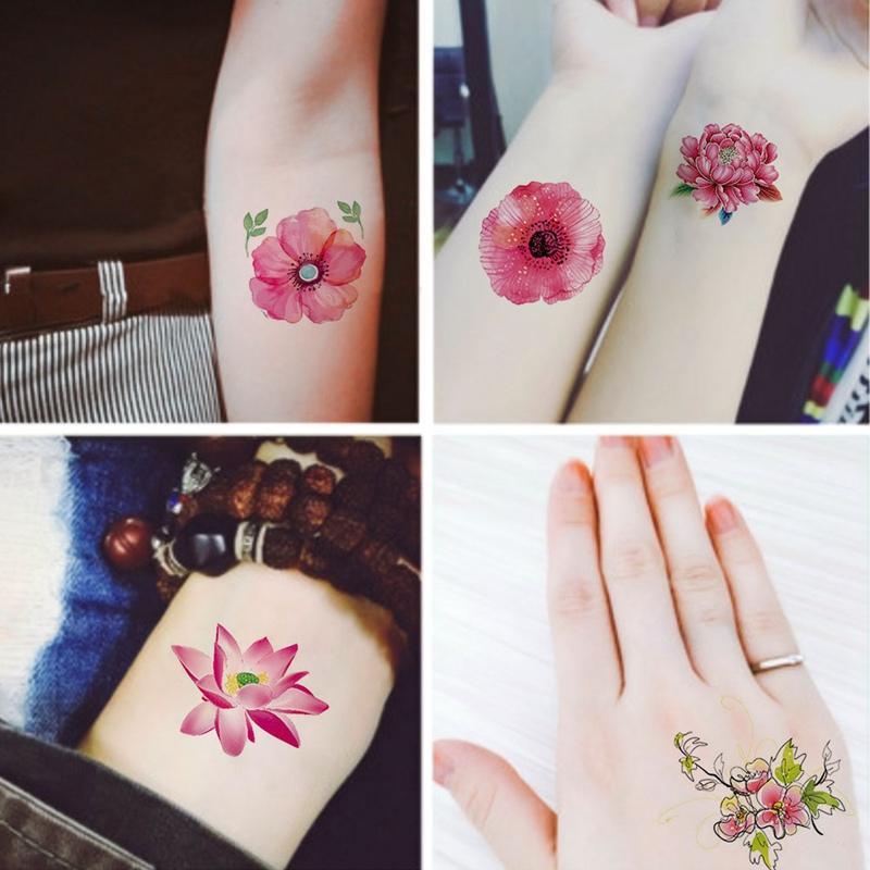 2 Unids Set 6x6 Cm Acuarela Pequeñas Flores Rosa Planta Flor De