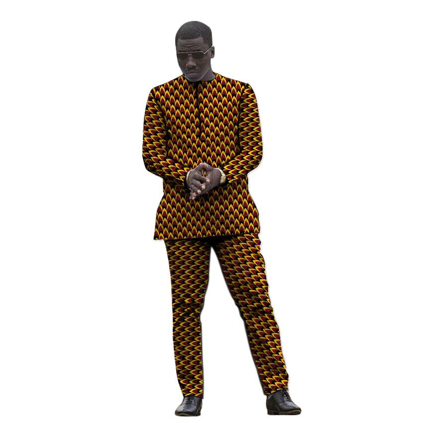 2fa316fbde2c1 African clothing men's print set shirt with trouser Ankara fashion pant  sets customized wedding wear male formal outfits