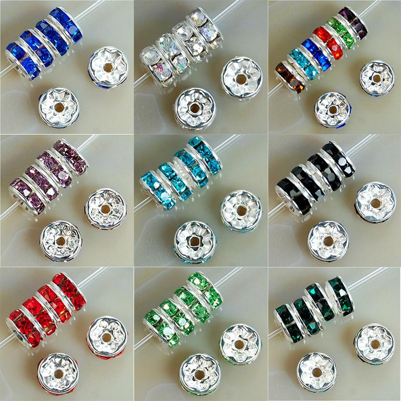 Jewelry Accessories Jewelry Findings Components 100Pcs 8mm Metal Crystal Rhinestone Rondelle Spacer Beads For Bracelet Necklace DIY B00376