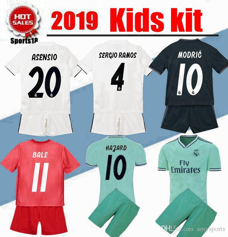 cd74e022b2e 2019 Kids Kit HAZARD 2019 Real Madrid Soccer Jerseys 19 20 Home ASENSIO  BENZEMA MODRIC RAMOS Third Green Football Shirt Boy Child Youth Jersey From  ...