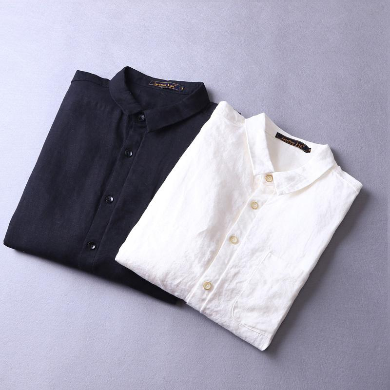 4920c1d7 2019 2018 New Pure Linen Shirts Men Long Sleeve Fashion Men Shirt ...