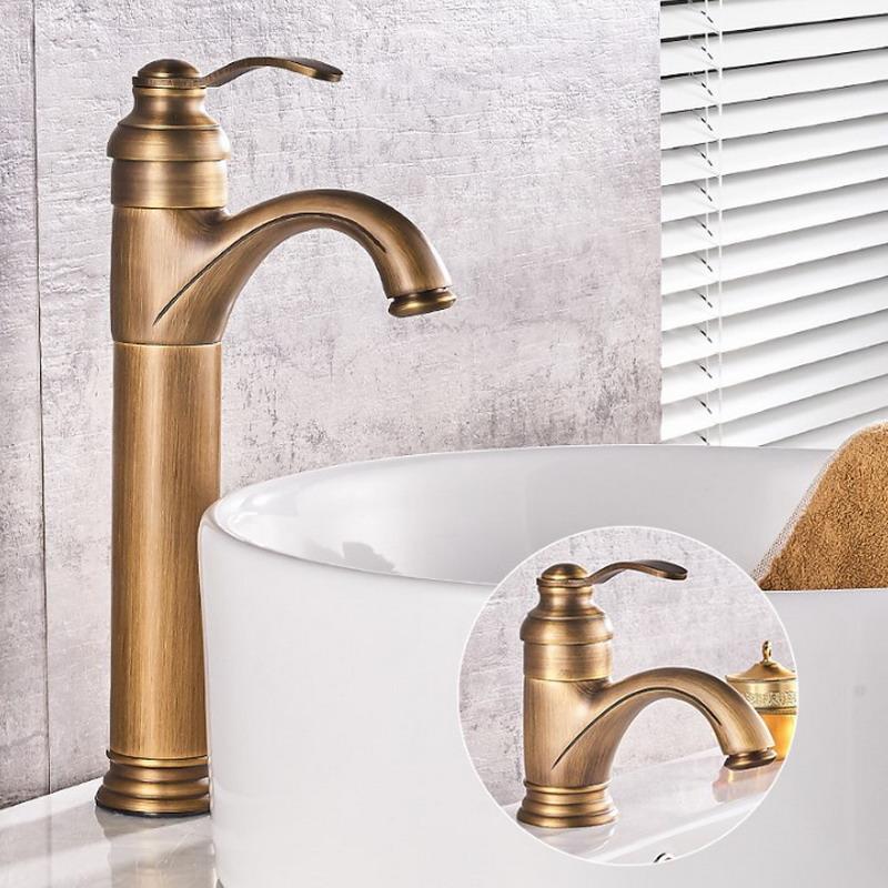 Antique Brass Bathroom Basin Faucet Vessel Sink Faucet Single Lever