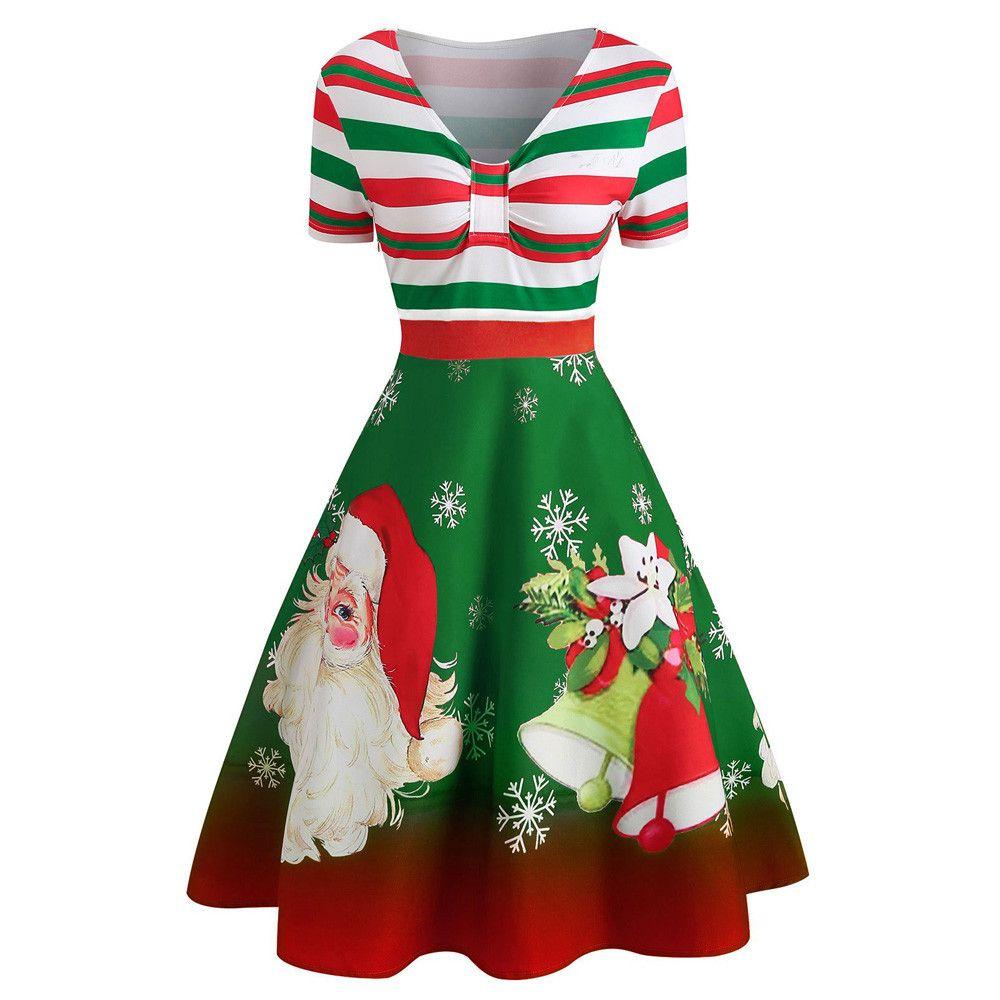 Christmas Dress.Christmas Dress Vestidos Women Xmas Santa Claus Stripe Print V Neck Vintage Swing Party Mini Dresses Kerst Jurk Robe De Noel L3