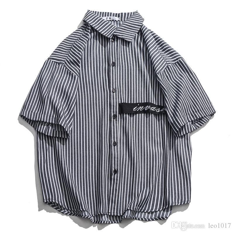 low priced 48ed1 db498 Gestreifte Hemden Männer Umlegekragen Übergroßen Herrenhemd Gebogener Saum  Lässige Kleidung Herren Top