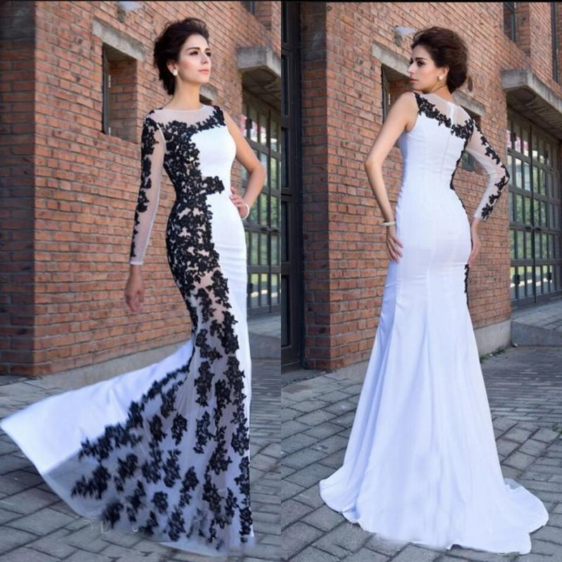 58f981e05f92 Vintage White And Black Mermaid Prom Dresses Long Sexy One Shoulder Sheer  Neck Lace Appliques Elegant Evening Formal Gowns For Women Plus High Low  Prom ...