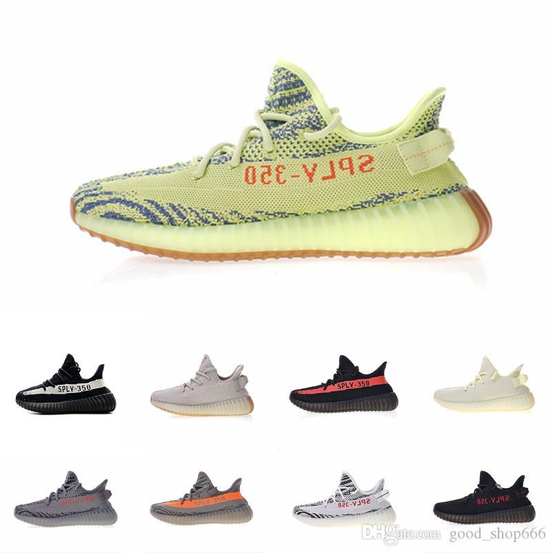 3d169bd7febda 2019 Butter SPLY 350 V2 Sesame Zebra Cream White Black Bred Kanye West  Running Shoes Designer Men Women 350 Sneakers Size 36-46 Sply 350 350 V2  Kanye West ...