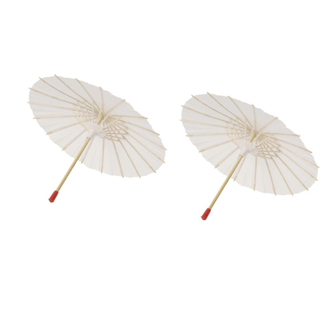2Pcs White Paper Parasol Craft Decorative Chinese Japanese Paper Umbrella for Baby Shower Anniversary Wedding