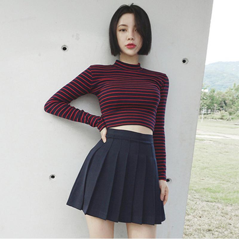 2019 Korean Style Short T Shirt Women Turtleneck Women Tops Fashion Harajuku Crop Top ...