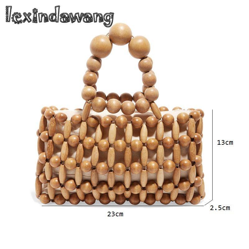 cb557dd2c34 Bamboo bag Vintage Women Wood Beaded Handbag Handmade Wood Beading Bags  Girls Mini Totes Fashion Summer Beach Bag Dropshipping #599680