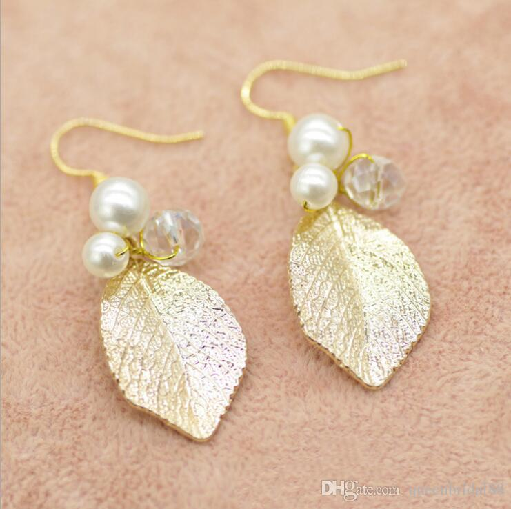 2019 Baroxon Women's Family Garden Golden Leaf Hair with Earrings Set Bride Jewelry Accessories Wedding Garment Accessories