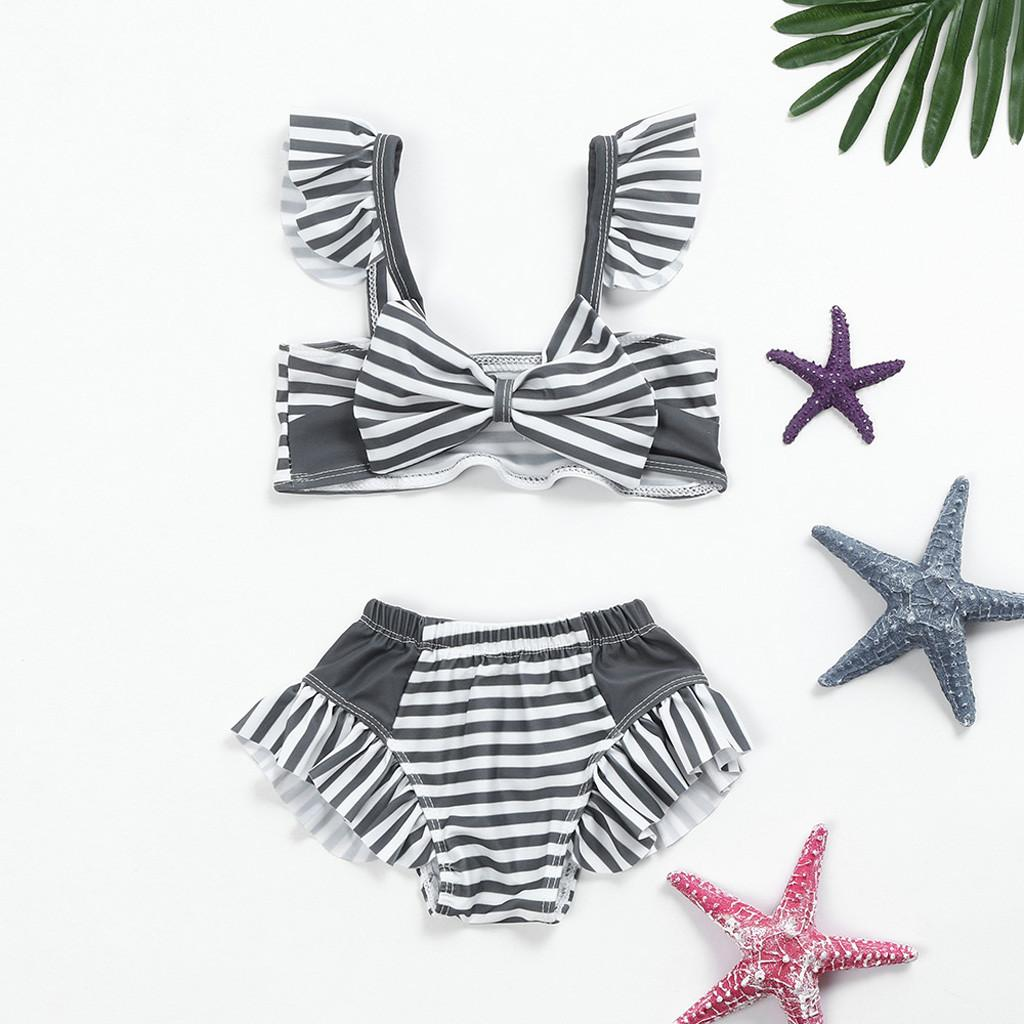 MUQGEW 2019 New Summer Bathing Suit Infant KidS Baby GirlS Swimwear Striped StrapS SwimSuit Bathing Set Beachwear