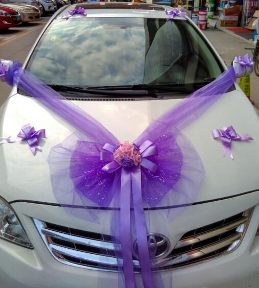 acheter tulle bowknot pe rose ruban voiture de mariage avec fleur